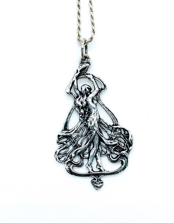 Antique Art Nouveau Sterling Silver Nymph Maiden P