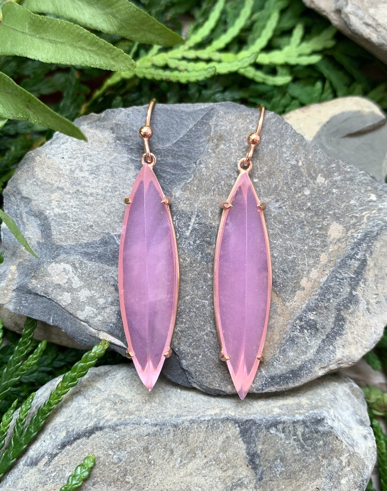 14k Rose Gold Sterling Silver Pink Chalcedony Kite Earrings Rose Gold Pink Chalcedony Earrings 14k Chalcedony Earrings Chalcedony Kite