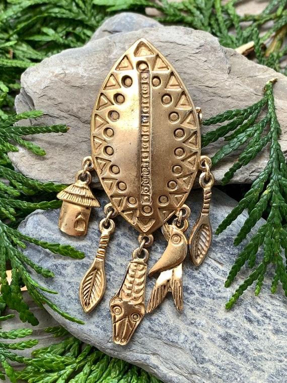 Vintage Gold Tone African Zulu Warrior Shield Anim