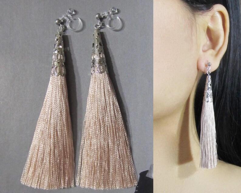 62470f602 Sand Beige Tassel Clip-On Earrings 35E Long Dangle Clip | Etsy