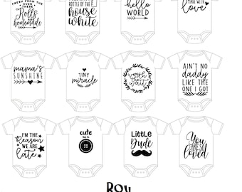 DIY Baby Boy/ Girl Bodysuit Design Kit for Baby Shower/ Decorating Kit - Iron on decal. ** DECAL only kit **