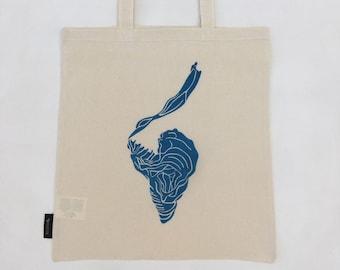 Print on Cotton Cloth Bag - 'Blue Leaf' (Duilleag Ghorm)