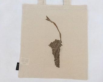 Print on Cotton Cloth Bag - 'Brown Leaf' (Duilleag Dhonn)