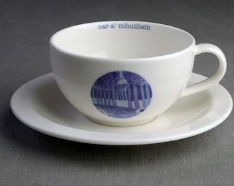 Somersault - Ceramic tea cup & saucer with decal print titled 'car a' mhuiltein'