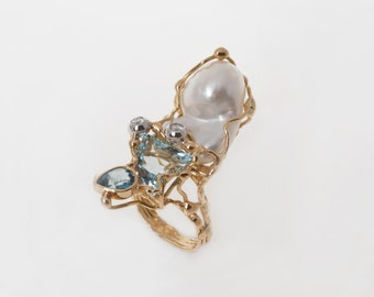 anello acquamarina e perla - aquamarine and pearl ring