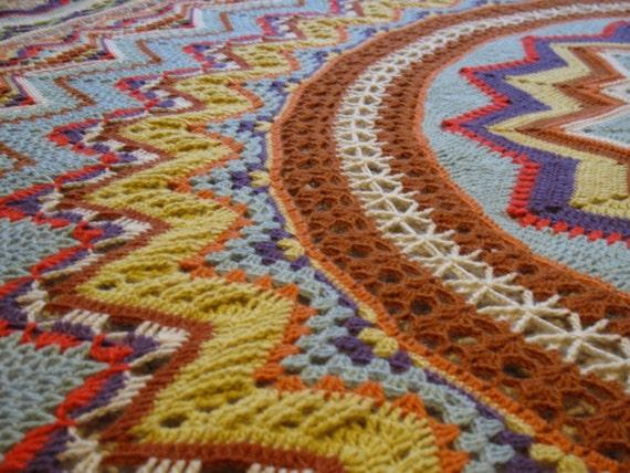 Von Hand Gehäkelte Decke Boho Hippie Decke Bunte Decke Etsy