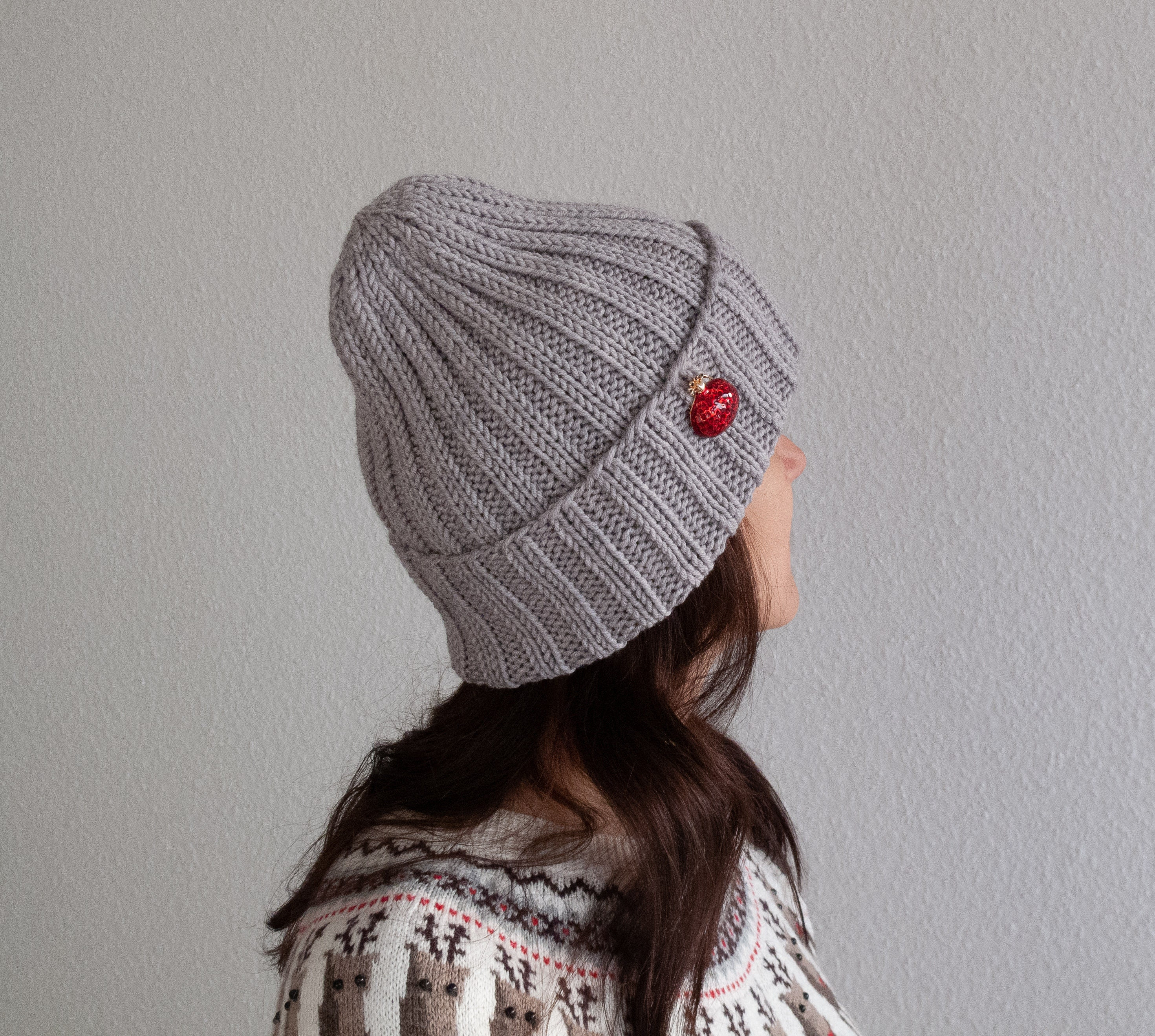 901bef8ed9779f Hand knit winter hat for women Simple light grey knit hat   Etsy