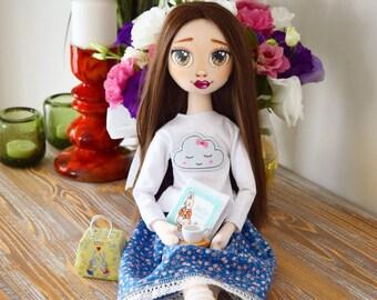 Handmade Doll, Tilda Doll, Fabric toys, Cloth Doll, Decorative Doll, Child Toys, Handmade Doll, Fabric Doll, Rag Doll, Pattern doll