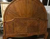 Antique French European Satinwood Panel Bed