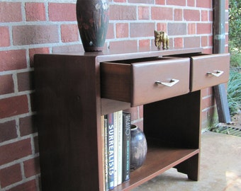 Vintage Walnut Chairside End Table With Bookshelf