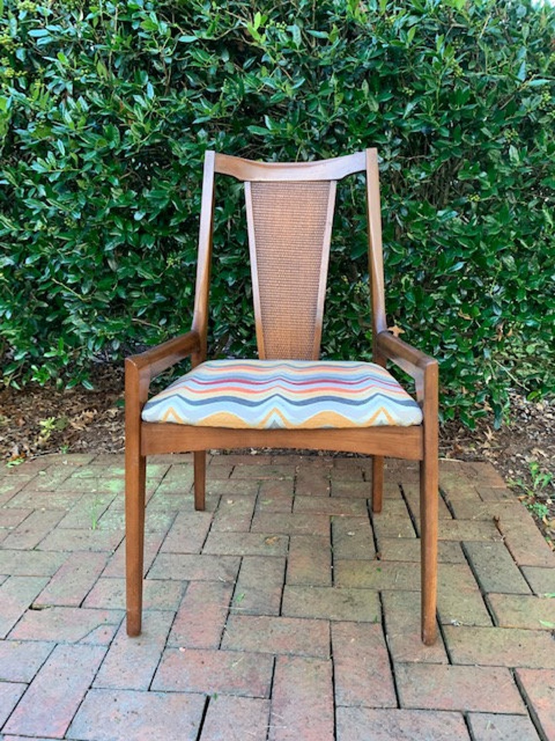 Fine Vintage Mid Mod Arm Chair With Caneback