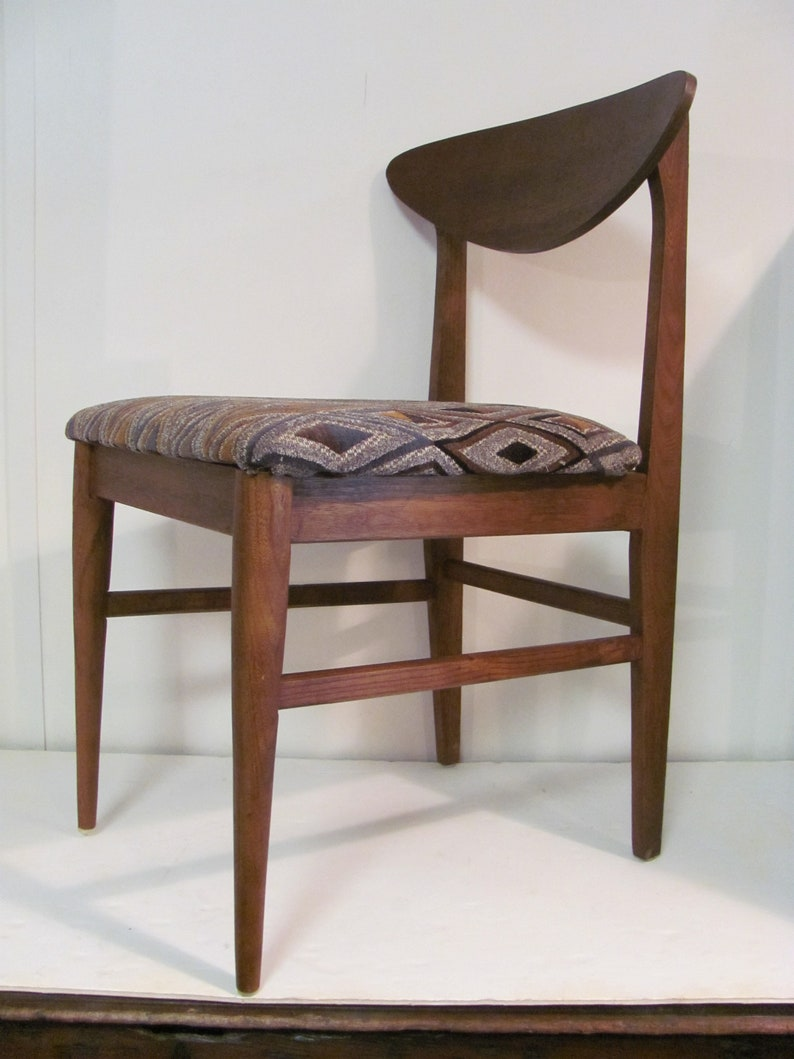 Fine Mid Mod Walnut Accent Or Desk Chair By Bassett Furniture Etsy