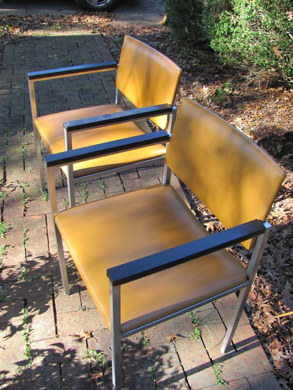 Vintage Pair Of Steelcase Stainless Steel Arm Chairs Etsy