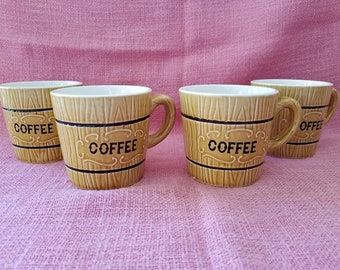 803c1375e03 Vintage Coffee Cups set of 4 | 1950s Coffee Mugs by Royal Sealy Japan |  Ceramic Coffee Cups | Faux Wood Grain Design