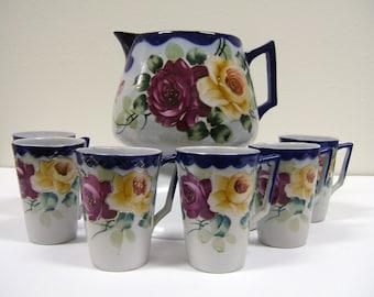 Antique Nippon Porcelain 7 Piece Lemonade Set with Roses, Cobalt Blue & Gold | Hand Painted China