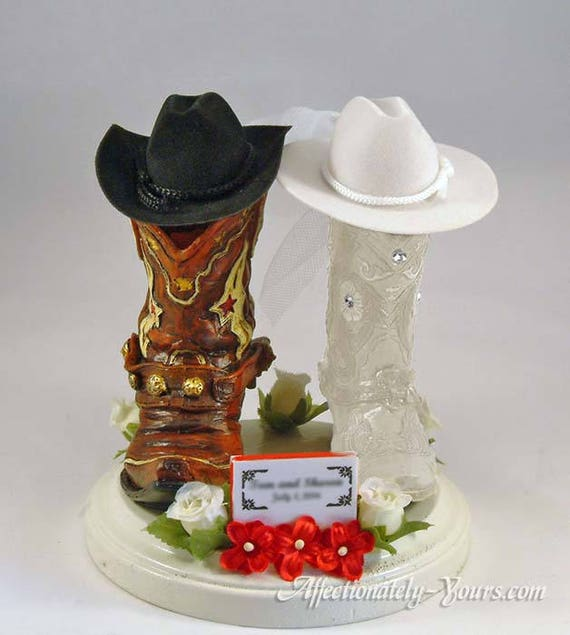 Cowboy Cowgirl Western Country Horseshoe Horse Wedding Cake Topper Personalized