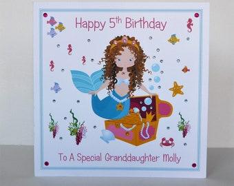 Large Birthday Card Mermaid Theme Daughter Niece Goddaughter Granddaughter Etc