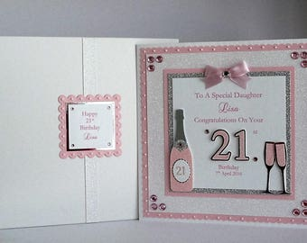Name Age Personalised Birthday Card 21st Happy Birthday Card