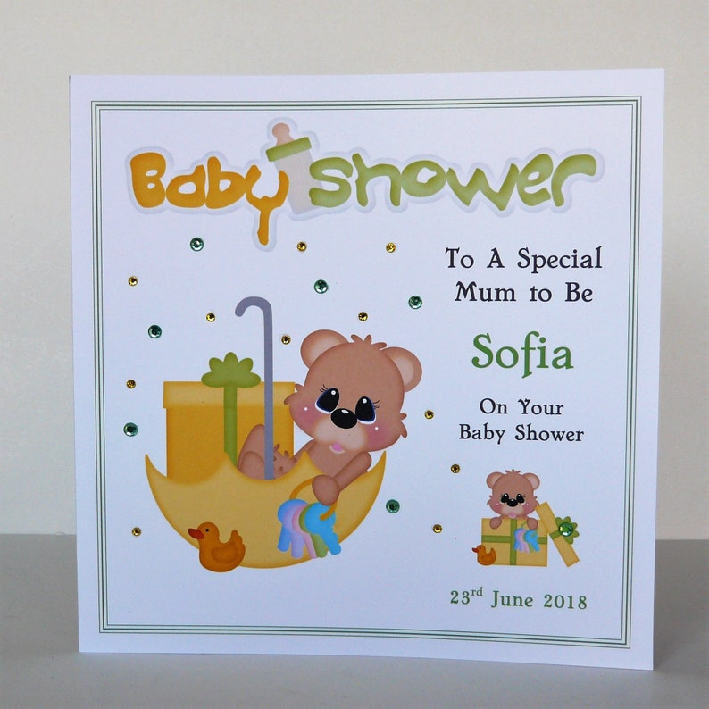 Baby Shower Card Personalised Small Or Large Card Options Etsy