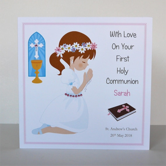 Handmade Personalised 1st Holly Communion Card  Confirmation Card Girl