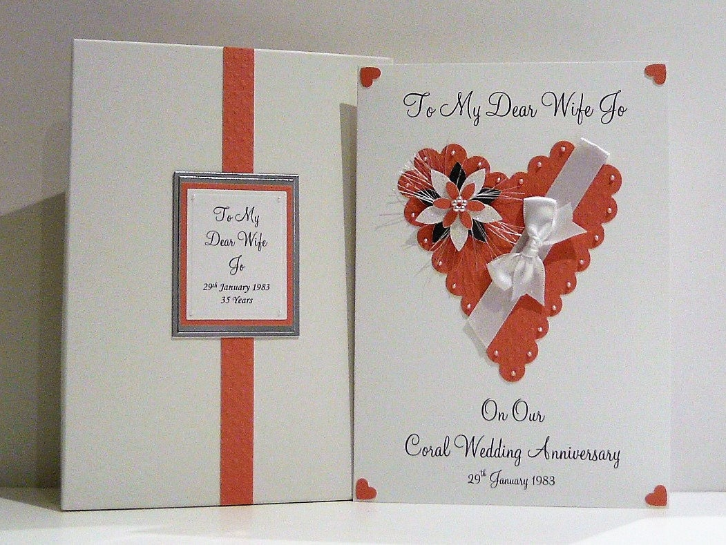 Coral Gifts 35th Wedding Anniversary: Coral 35th Wedding Anniversary Card Personalised With Box