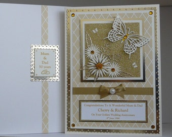 50th Golden  Wedding Anniversary Card for Wife/Husband/Mum/Dad/Friends etc Large Handmade Boxed Personalised