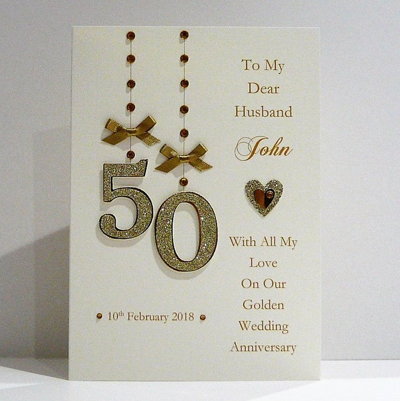 personalised 50th golden wedding anniversary card for etsy