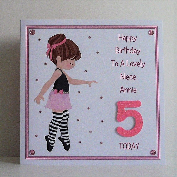 Personalised Dancer Ballet Girl Name And Age Birthday A5 Large