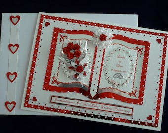 40th Ruby Wedding Anniversary Card for Wife/Husband/Mum & Dad/Friends etc Customised Large Handmade Boxed Personalised