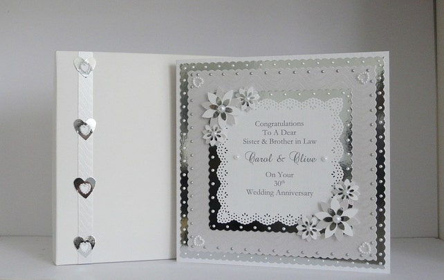 30th pearl wedding anniversary card for wife husband mum etsy