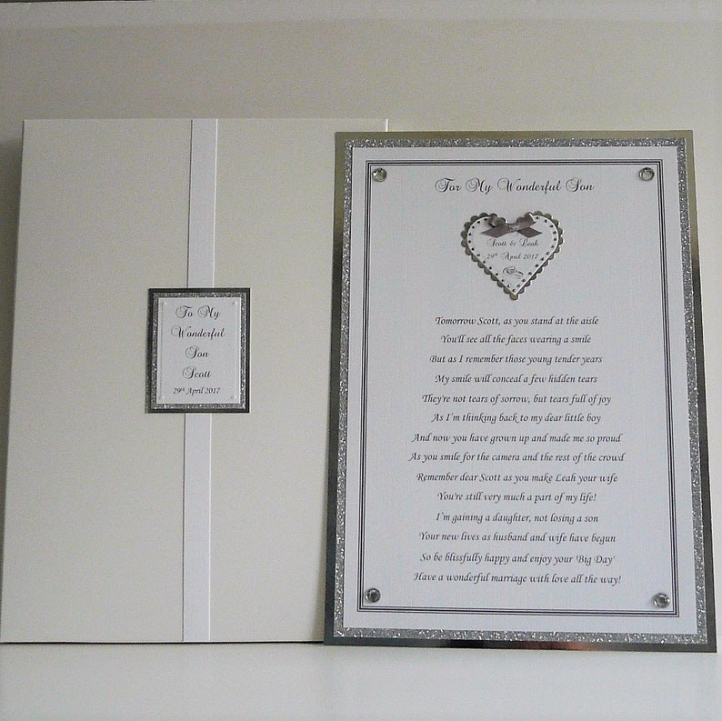 A4 POEM TO YOUR SON DAUGHTER ON WEDDING DAY IDEAL FOR FRAMING GREAT KEEPSAKE