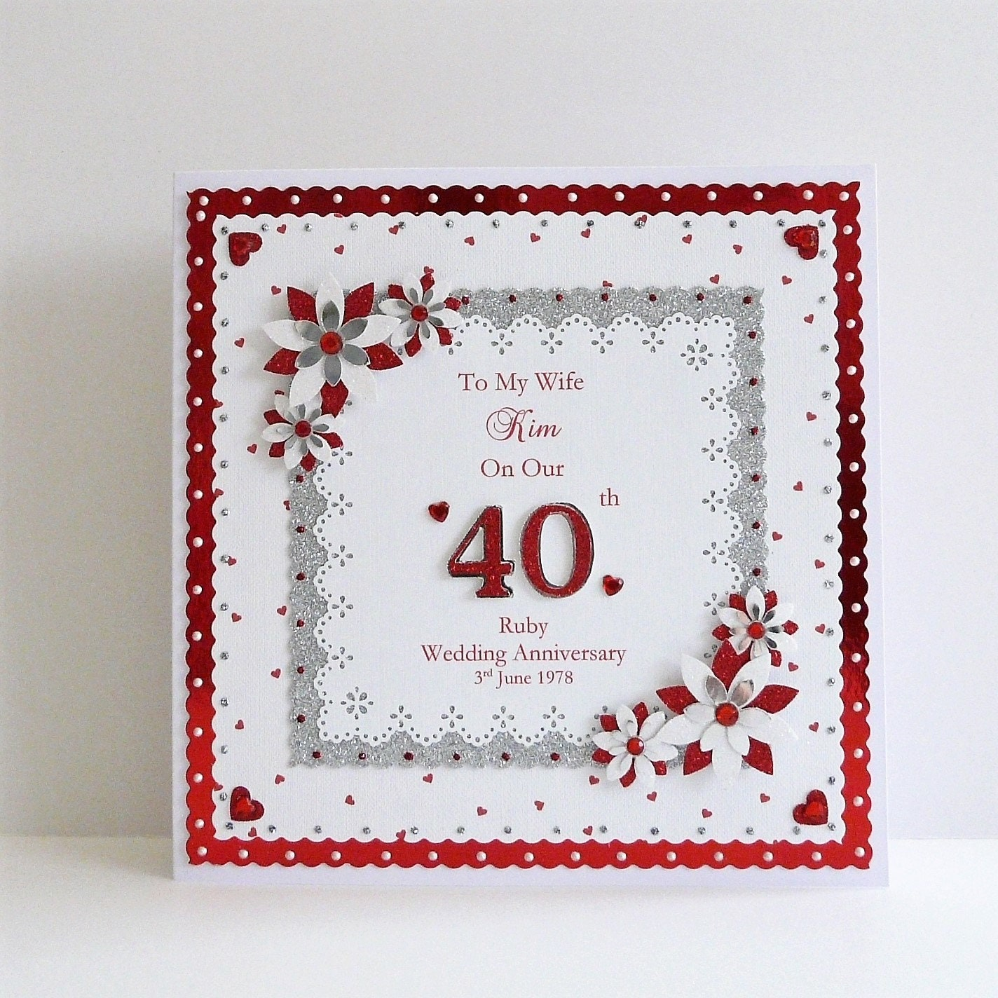 40th Wedding Anniversary Gifts For Wife: 40th Ruby Wedding Anniversary Card Wife/Husband/Mum Dad
