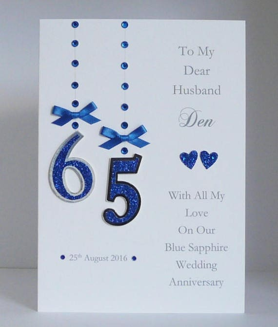 65th Blue Sapphire Wedding Anniversary Card with or without box Personalised