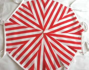 10ft / 3m Candy Bunting Pennant Garland: Red and White Stripe Barbers Shop Candy Cane