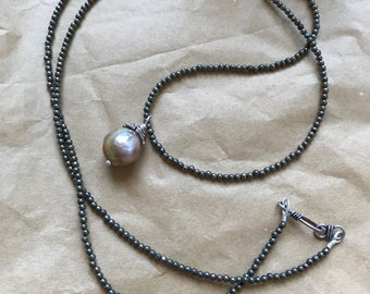 Pyrite Seed Beads and Freshwater Baroque Pearl Necklace