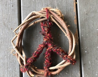 Red Handwoven Peace Sign Mini Wreath/ Christmas Ornament