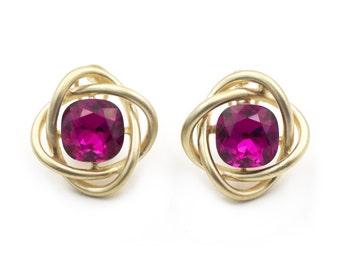 Flowers purple crystal earrings
