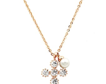 Mini cross crystal and pearl necklace