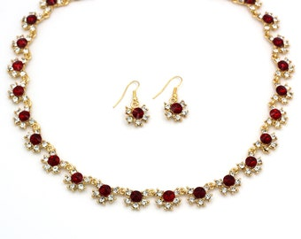 Gold red crystal necklace earrings set