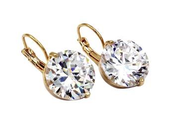 Large crystal studs earrings