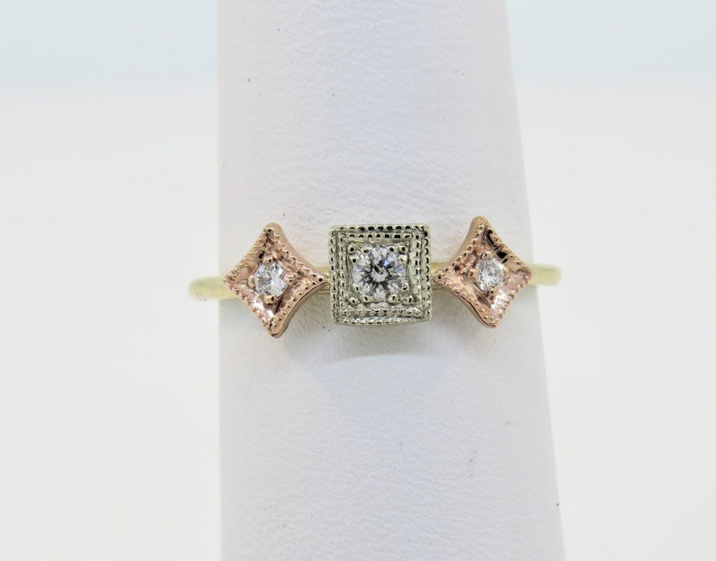 14K Three Tone 0.12ct Diamond  Vintage Antique Style Ring Milgrain Ring Three Stone Diamond Ring Promise Ring Stackable Ring Dainty Ring.