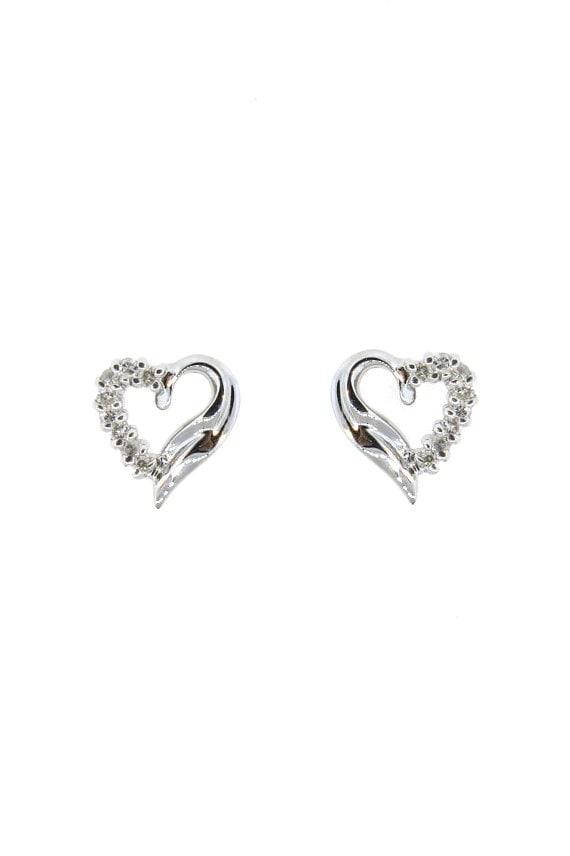 14k White Gold 0 23ct Diamond Heart Stud Earrings Heart Etsy