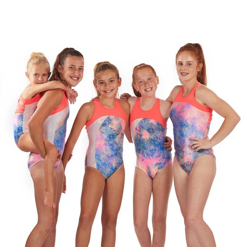 0ed39b75bd Lizatards Rainbow Fish Girls Gymnastics Leotard with Strappy