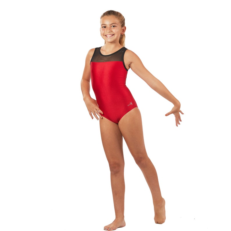 befa1b844 Gymnastics Leotards Red Mesh with Mesh Back in Girls and