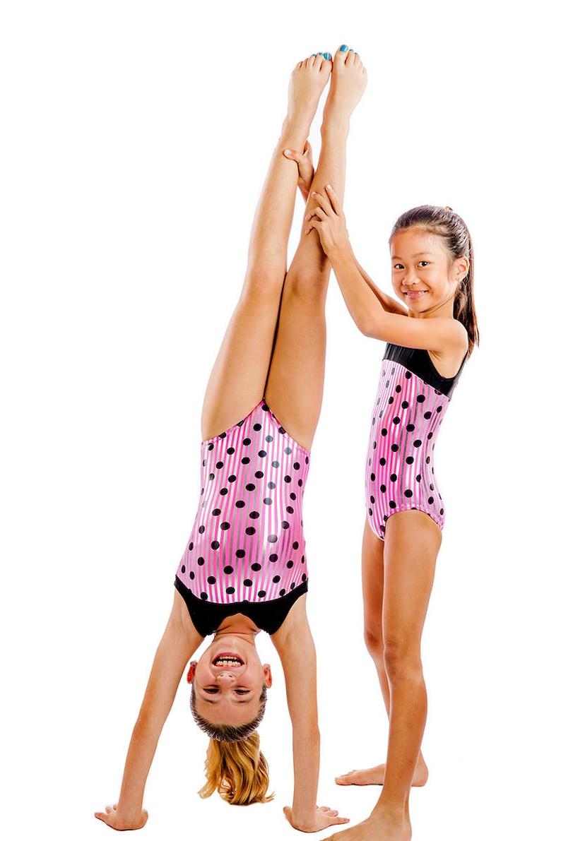 580e1df93 Lizatards Polka Dot in Pink Girls Gymnastics Dance Leotard Two