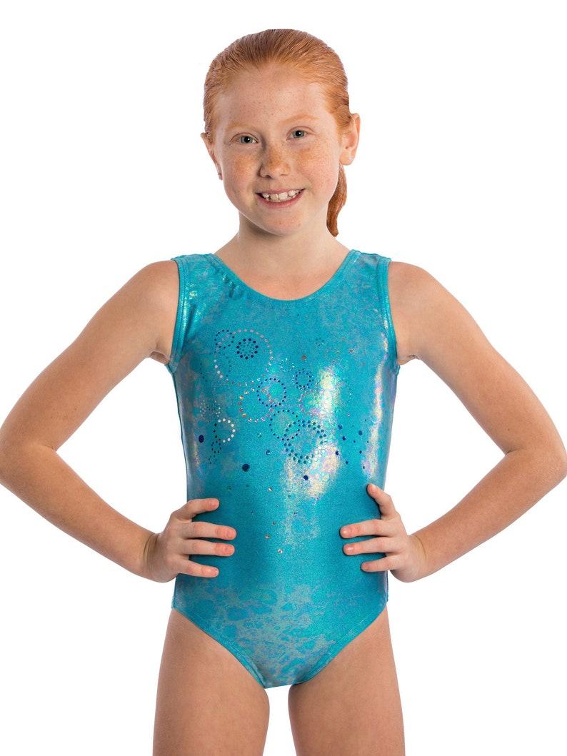 16cc4f278087 Girls Gymnastics Aqua Bubbles Leotard