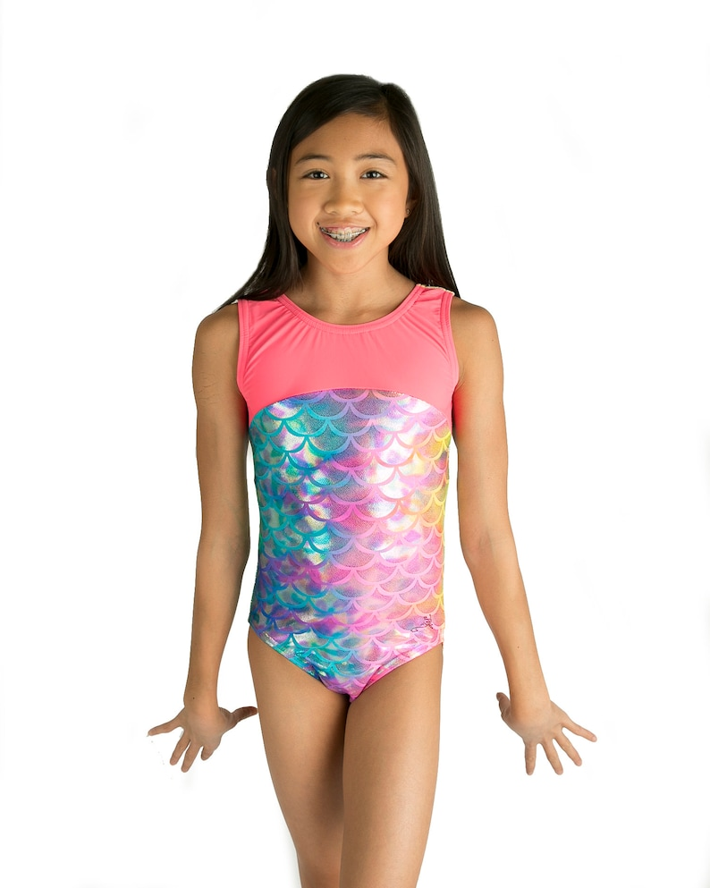 038e6441f Gymnastics Leotards Tye Dye Mermaid with Bow Back in Girls and
