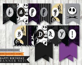 nightmare before christmas halloween town theme printable happy birthday banner tim burton party party decoration instant download