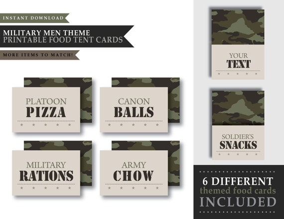 Army Military Men Theme Printable Food Tent Cards Etsy