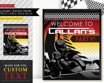 Go-Kart 'Indoor Race' Theme *Printable Welcome Sign* Go-Cart / Custom / Party Decoration / Backdrop / Personalized / Birthday Decorations
